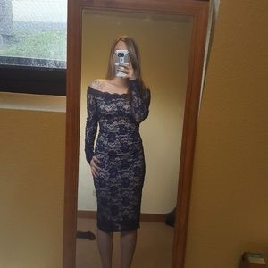 blue laser cut lace dress